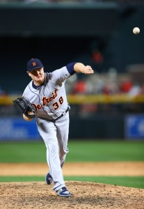 May 9, 2017; Phoenix, AZ, USA; Detroit Tigers pitcher Justin Wilson against the Arizona Diamondbacks at Chase Field. Mandatory Credit: Mark J. Rebilas-USA TODAY Sports
