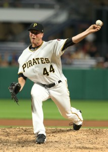 Apr 26, 2017; Pittsburgh, PA, USA; Pittsburgh Pirates relief pitcher Tony Watson (44) pitches against the Chicago Cubs during the eighth inning at PNC Park. Mandatory Credit: Charles LeClaire-USA TODAY Sports