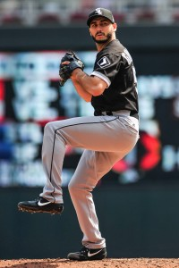 Aug 31, 2017; Minneapolis, MN, USA; Chicago White Sox starting pitcher Miguel Gonzalez (58) throws a pitch against the Minnesota Twins during the third inning at Target Field. Mandatory Credit: Jeffrey Becker-USA TODAY Sports
