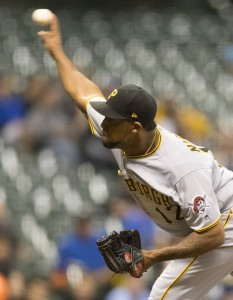 Jun 20, 2017; Milwaukee, WI, USA; Pittsburgh Pirates pitcher Juan Nicasio (12) throws a pitch during the eighth inning against the Milwaukee Brewers at Miller Park. Mandatory Credit: Jeff Hanisch-USA TODAY Sports