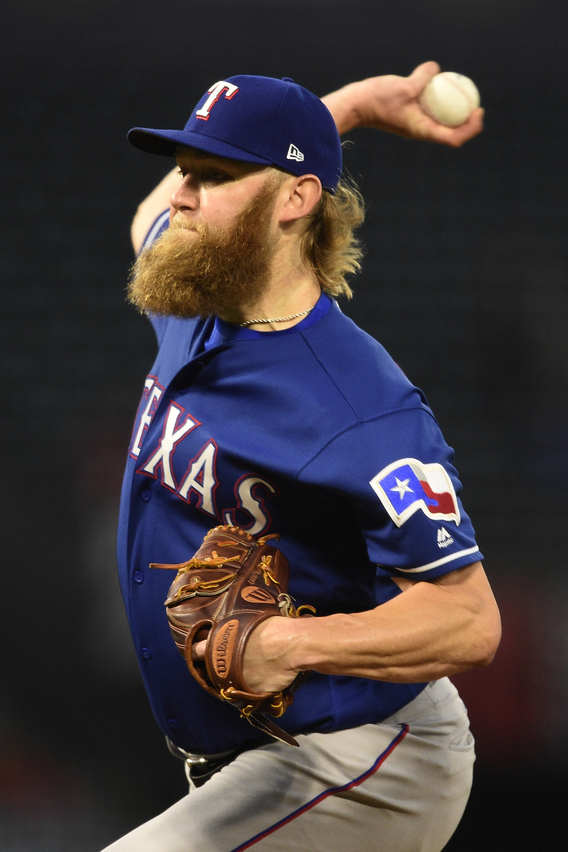 18d762510bb Aug 23, 2017; Anaheim, CA, USA; Texas Rangers starting pitcher Andrew