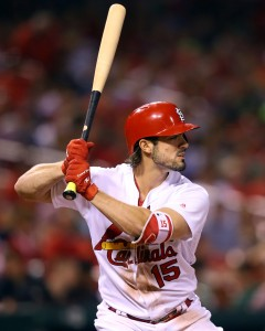 Sep 8, 2017; St. Louis, MO, USA; St. Louis Cardinals left fielder Randal Grichuk (15) against the Pittsburgh Pirates at Busch Stadium. Mandatory Credit: Aaron Doster-USA TODAY Sports