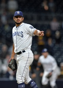Sep 18, 2017; San Diego, CA, USA; San Diego Padres relief pitcher Brad Hand (52) gestures during the ninth inning against the Arizona Diamondbacks at Petco Park. Mandatory Credit: Jake Roth-USA TODAY Sports