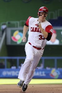 Mar 11, 2017; Miami, FL, USA; Canada infielder Justin Morneau (33) runs the bases in the first inning against Colombia during the 2017 World Baseball Classic at Marlins Park. Mandatory Credit: Logan Bowles-USA TODAY Sports